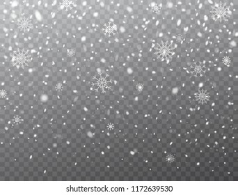Snow and snowflakes background. Realistic falling snow and snowflakes. Frost storm, snowfall effect. Christmas background with snowflakes on transparent background. Vector illustration