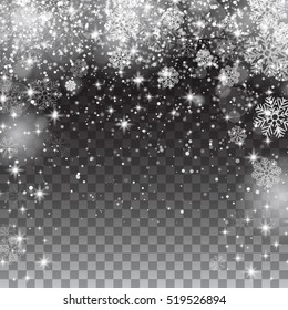 Snow snowflakes on a transparent background. Falling Christmas Shining beautiful snow isolated. Snowflakes, snowfall. Vector illustration