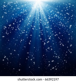 Snow and stars are falling on the background of blue luminous rays.
