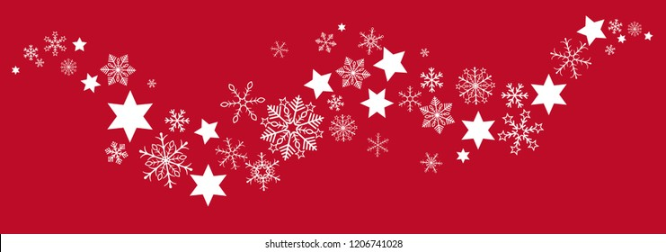 Snow  and stars on the red background. Eps 10 vector file.