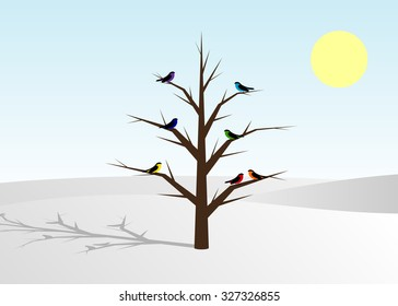 snow and a tree with birds