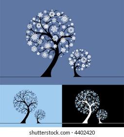 Snow trees. Vector illustration.