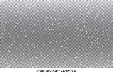 Snow. Vector transparent realistic snow background design