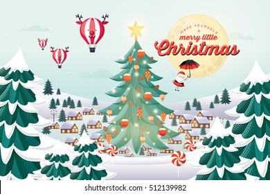 snow village with christmas tree christmas greetings template vector/illustration