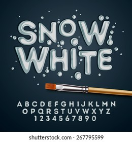 Snow white alphabet and numbers, vector illustration.