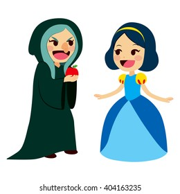 Snow White princess getting an apple from an ugly old evil witch