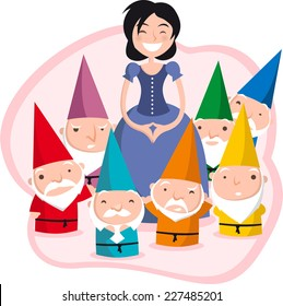 Snow White and the Seven Dwarfs cartoon illustration