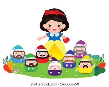 snow white and the seven dwarfs, Snow White isolated on white background, Princess and Dwarfs Vector Illustration