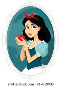Snow White - Vector drawing of beautiful princess with red apple