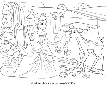 Snow White in the woods with animals. Tale, cartoon, coloring book black lines on a blank background. Vector illustration