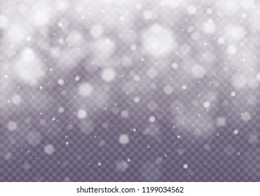 Snow and wind on a transparent background. Abstract blue bokeh background. Merry Christmas. Shining bokeh isolated on transparent background.