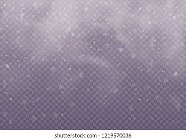 Snow and wind on a transparent background. Snow clouds or shrouds.  Christmas. Winter and snow with fog, snowfall.
