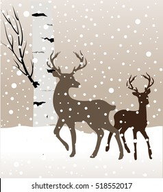 Snow winter landscape with two deers and birch tree