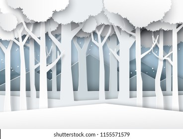 Snow and winter season forest silhouette background paper art style for merry christmas and happy new year.Vector illustration.