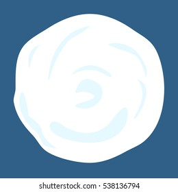 Snowball isolated on blue background. Ball of snow in flat style. Vector illustration.