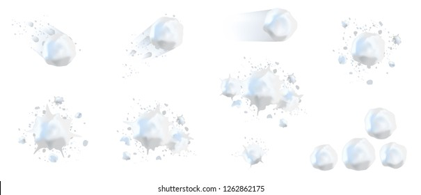 Snowball splats in vector, realistic 3d. Winter fun, playing with snow, children's games, throw a snowball. Isolated on white background for banners, stickers, cards.
