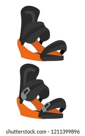 Snowboard bindings boots. Winter equipment icons for family vacation, activity or travel