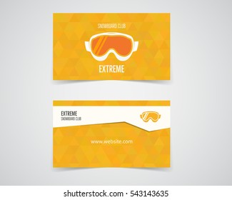snowboard business card. Orange palette. Good for extreme sport club. Vector colorful design.