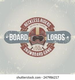 Snowboard emblem. Mark, logo, label on the theme of snowboarding in the old-school style with grunge effect. Worn texture on a separate layer.