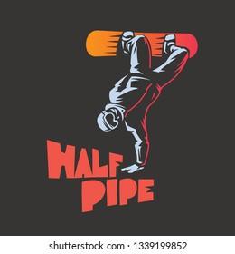 Snowboard emblem. Snowboarder riding halfpipe