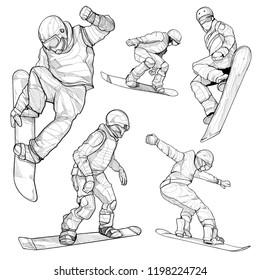 snowboard hand drawn illustration set