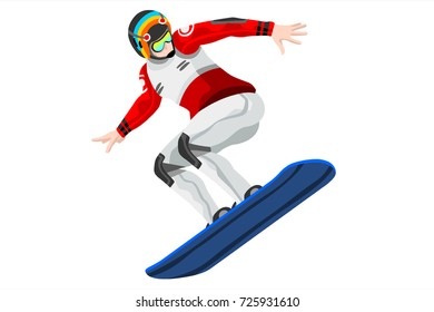 Snowboard jump race snowboarder athlete winter sport man vector 3D isometric icon.