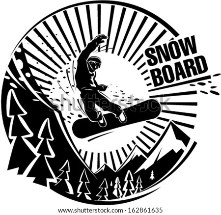 snowboard jumping mountains vector illustration engraving stock Snowmobile Design snowboard jumping in mountains vector illustration in the engraving style