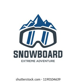 Snowboard logo, vector illustration, emblem design on white background. Snowboarding extreme logo and label templates. Winter snowboard sport store badge. Emblem and icon. Mountain Adventure insignia,