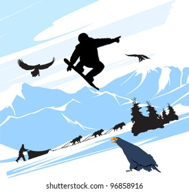 Snowboard man jump on the snow mountains background