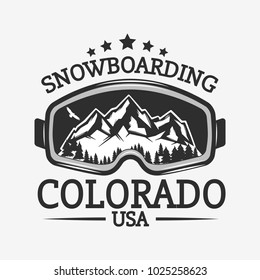Snowboard retro label isolated on white background.Vector illustration.