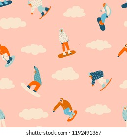 Snowboard seamless pattern with young people in vector. Winter sports illustration.