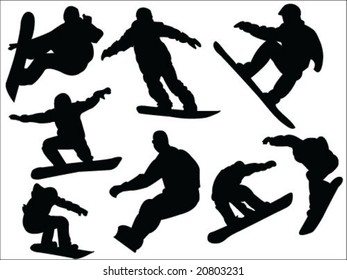 snowboard silhouette collection vector