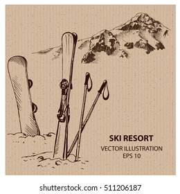 Snowboard and Ski in the Ski Mountain Resort. Hand drawn vector illustration