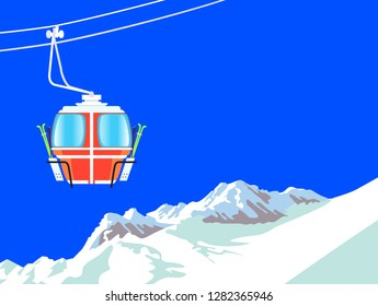 Snowboard and ski recreation poster design with cartoon style lift cabin and mountain landscape. Vector illustration.