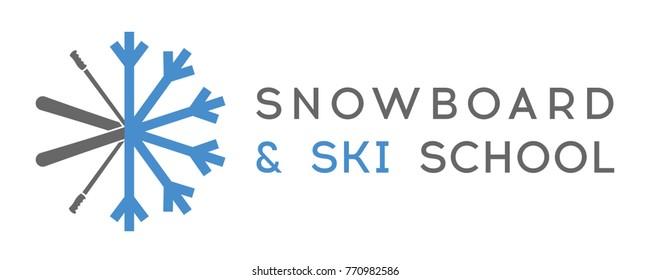 Snowboard and Ski School Snowflake Winter Logo