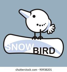 Snowboard = snow + bird. Cartoon bird-snowmen on snowboard.