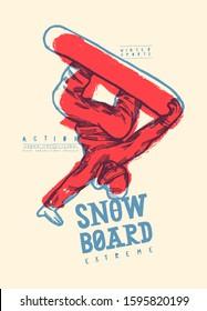 Snowboard t-shirt print. Snowboarder standing on hand trick.