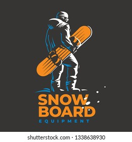 Snowboard vector emblem. Snowboarder standing of the top