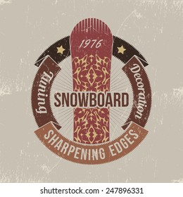 Snowboard vintage grungy logo for store, shop or team.