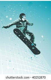 snowboarder in action,vector illustration