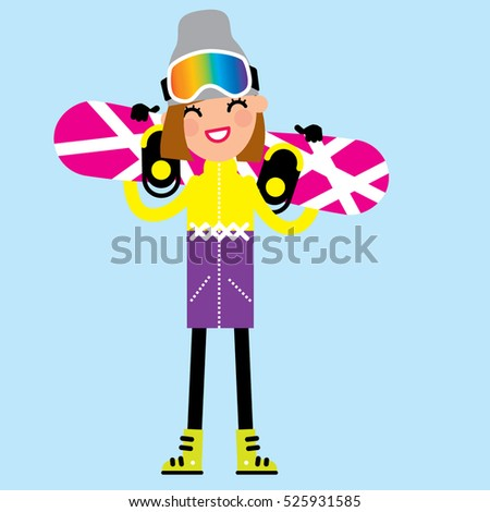 b0ee7ce0256 Snowboarder cartoon beautiful smiling girl holding a snowboard. Winter  sport. Vector illustration
