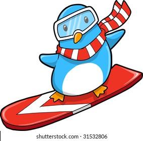 Snowboarder holiday Penguin Vector Illustration