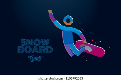 Snowboarder in a jump. Vector color line pictogram
