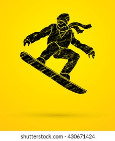 Snowboarder jumping designed using grunge brush graphic vector.