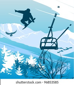 Snowboarder on a background of mountains and ski lift