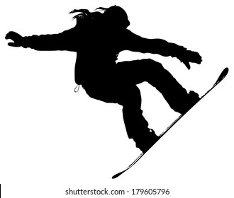 snowboarder silhouette on a white background