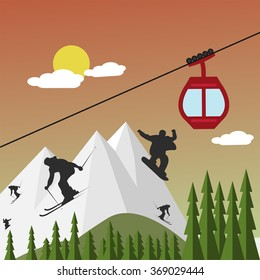 Snowboarders and skiers on the background of mountains and ski lift at sunset - vector
