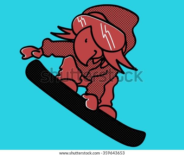 Snowboarding Cool Parrot Winter Sport Riding Stock Vector