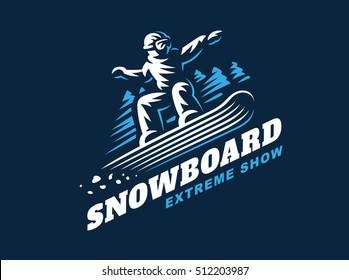 Snowboarding emblem Illustration man on dark background