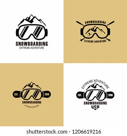 Snowboarding extreme logo and label collection